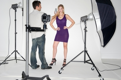 A model being photographed