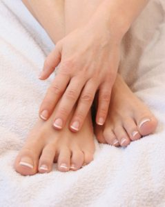 Feet and hands of a model